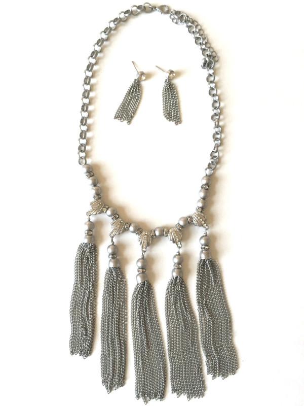 Tassel Stmnt Necklace silver