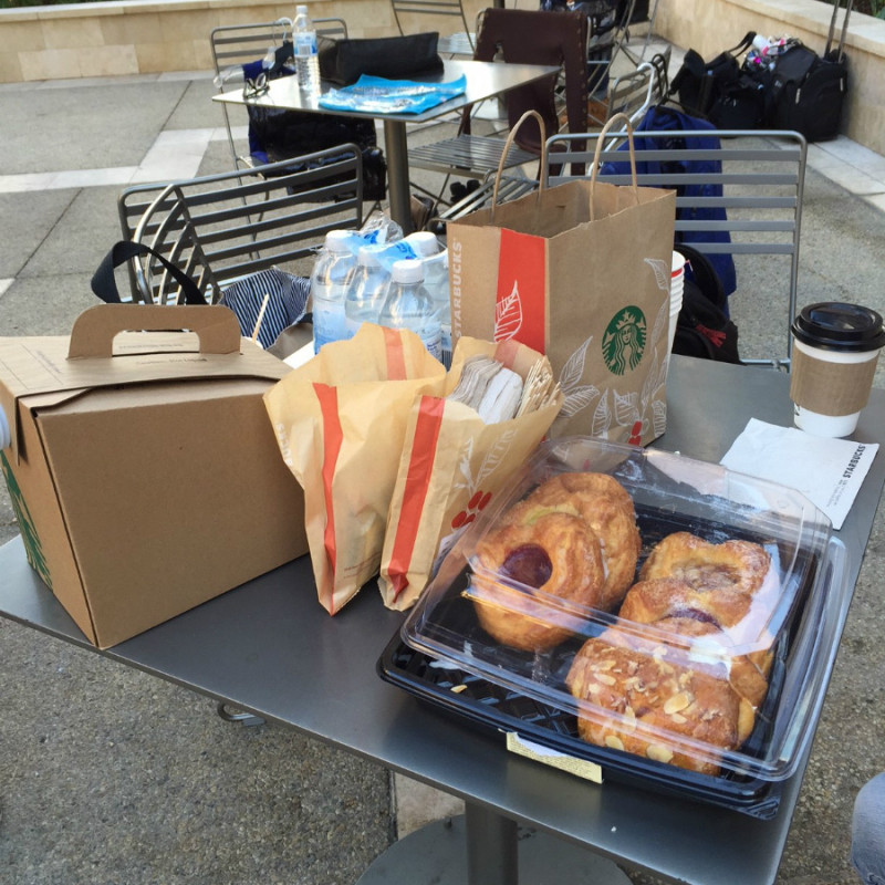 Breakfast pastries and coffee to keep us fueled